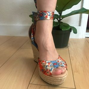 UGG leather silk tropical wedges